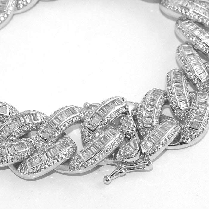 Exotic Baguette Lab Diamond Silver Cuban Bracelet