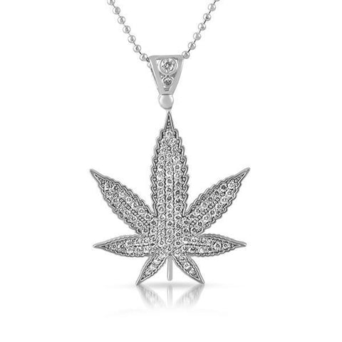 Silver Marijuana Leaf Lab Diamond Pendant
