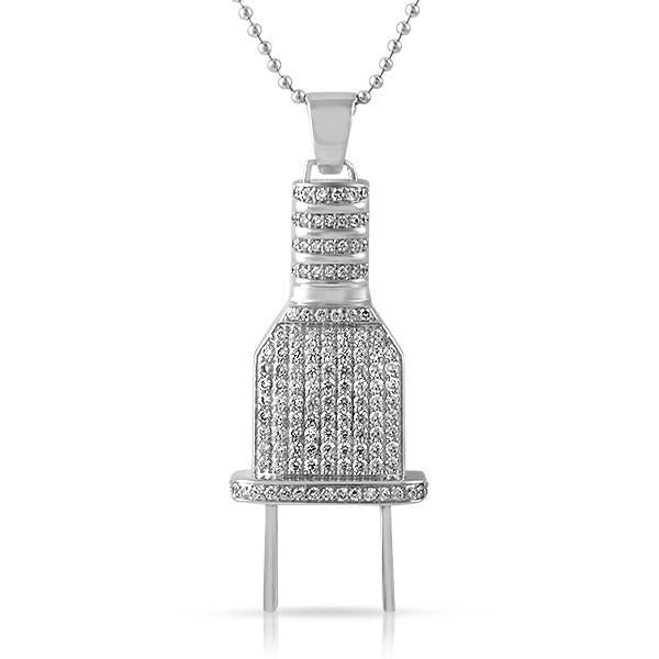 Rhodium Iced Out Plug Hip Hop Pendant