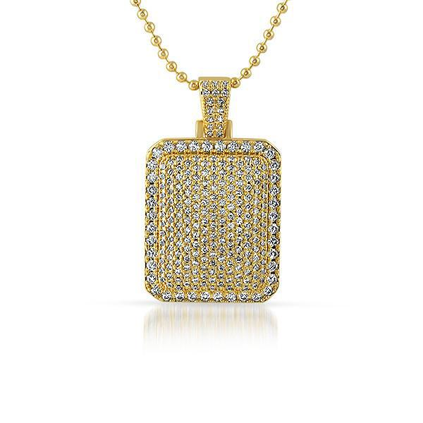 Gold Iced Out Cushion Dogtag Pendant