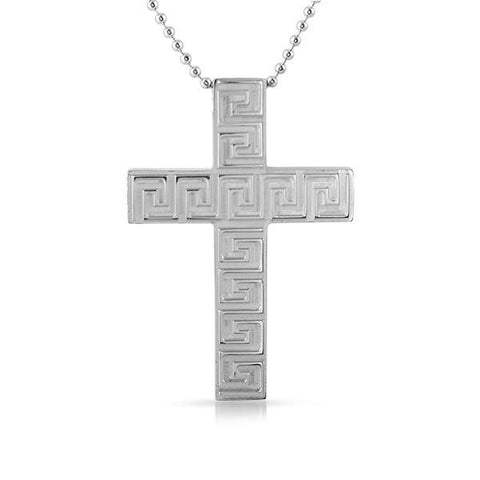 Stainless Steel Greek Key Thick Block Cross