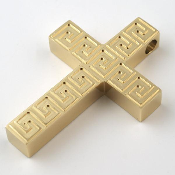 Gold Greek Key Thick Block Cross