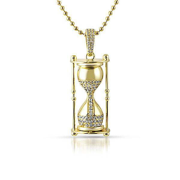 Gold 3D Time is Money Hour Glass Pendant