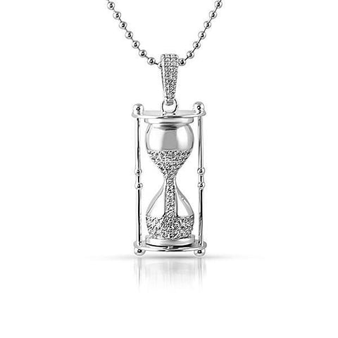 Silver 3D Time is Money Hour Glass Pendant