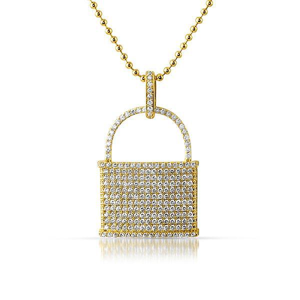 Gold Iced Out Pad Lock Pendant