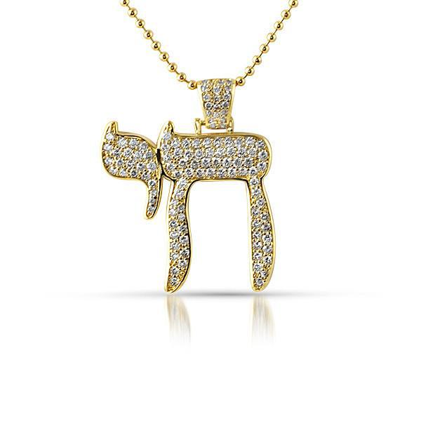 Gold Iced Out Small Chai Symbol Pendant Jewelryfresh