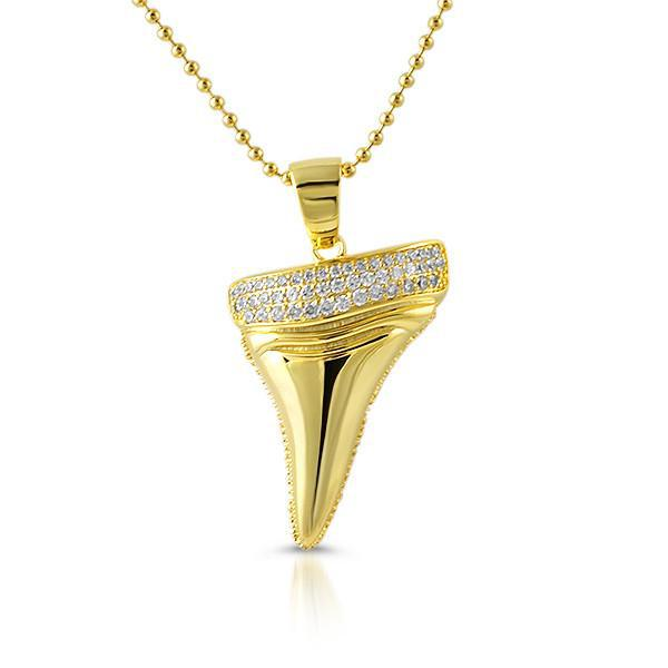 Gold 3D Shark Tooth Lab Diamond Pendant