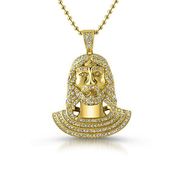 Gold Iced Out Small Jesus Pendant Set