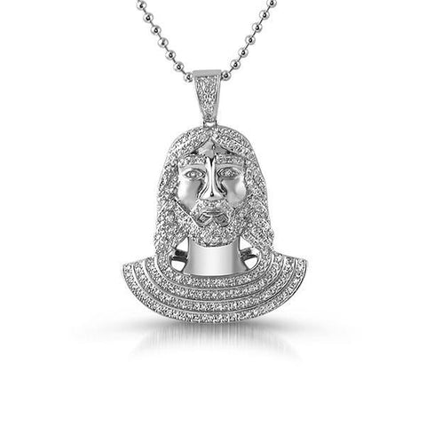 Silver Iced Out Small Jesus Pendant Set