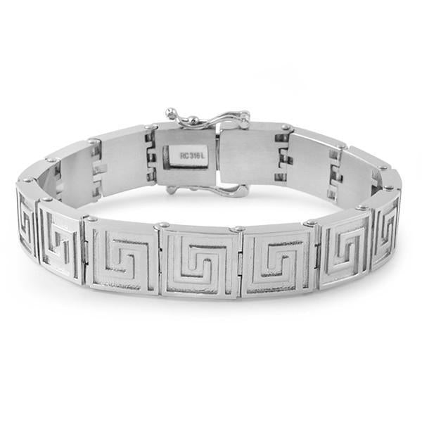 Greek Key No Fade Stainless Steel Bracelet