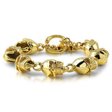 14K Gold IP 3D Skull Stainless Steel Bracelet