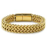 14K Gold IP Double Franco Stainless Steel Bracelet