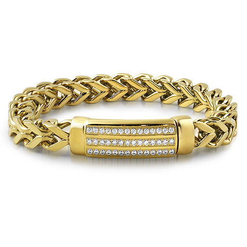 14K Gold IP Chucky Lab Diamond Franco Bracelet