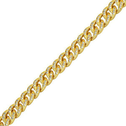 8mm Gold Iced Out Miami Cuban Bracelet