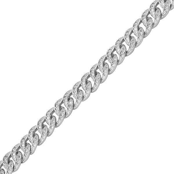 8mm 925 Silver Iced Out Cuban Bracelet