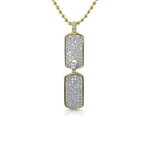Gold Micro Double Dogtag Chain Set