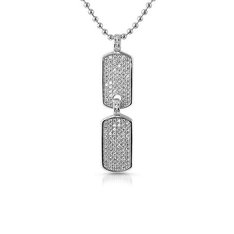 925 Silver Micro Double Dogtag Chain Set