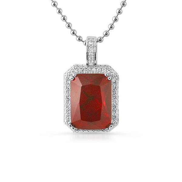 925 Silver Lab Ruby Red Gemstone Iced Pendant