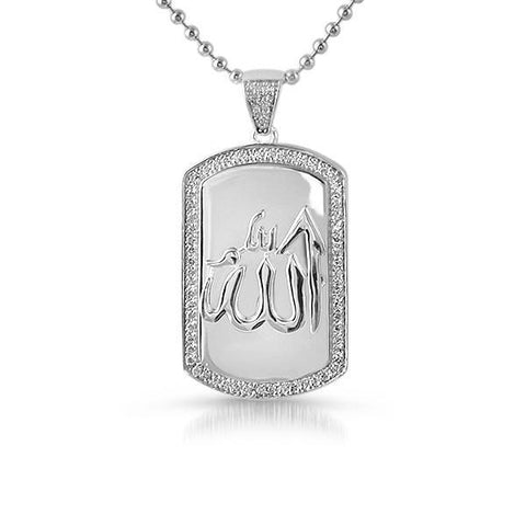 925 Silver Allah Muslim Dogtag Iced Pendant Set