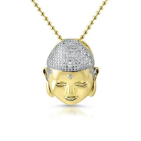 Hand Made Gold 3D Buddha Pendant With Chain