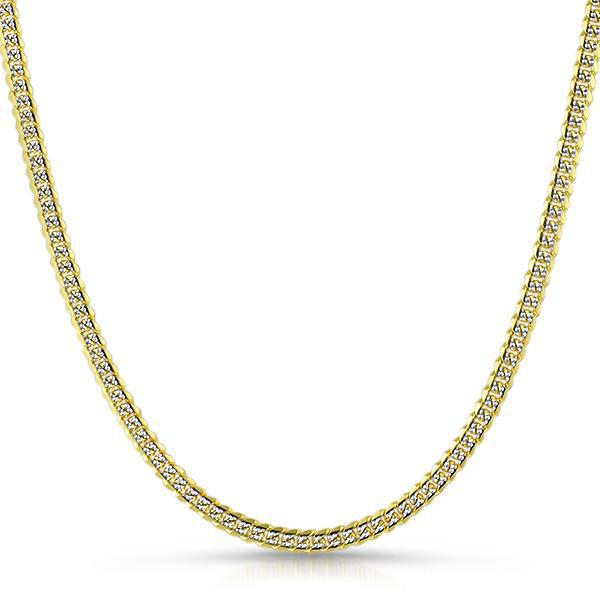 4mm Two Tone Italian 925 Silver Cuban Chain