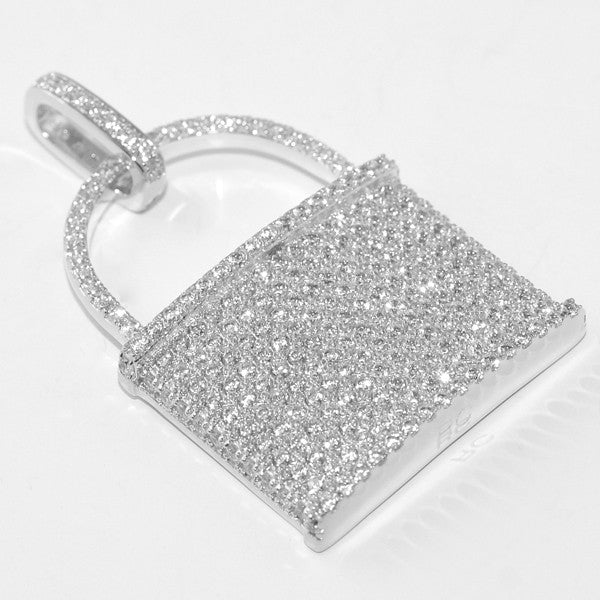 Silver Iced Out Pad Lock Pendant
