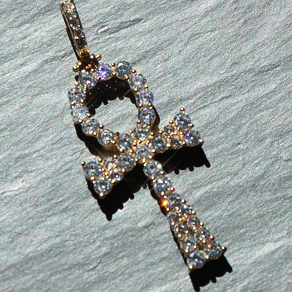 14K Gold Prong Set CZ Ankh Pendant
