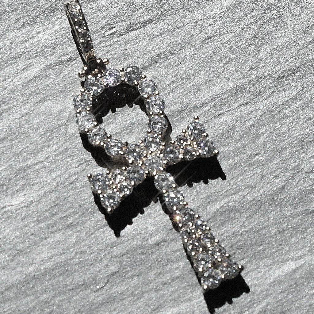White Gold Prong Set CZ Ankh Pendant