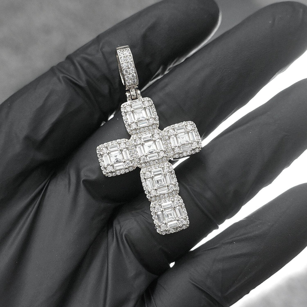 White Gold Fancy Cuts Mini Cross