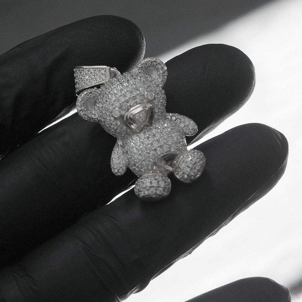 Sterling Silver 3D Mini Teddy Bear Charm
