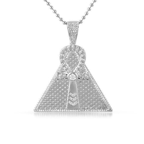 Silver Egyptian Ankh Pyramid Pendant With Chain