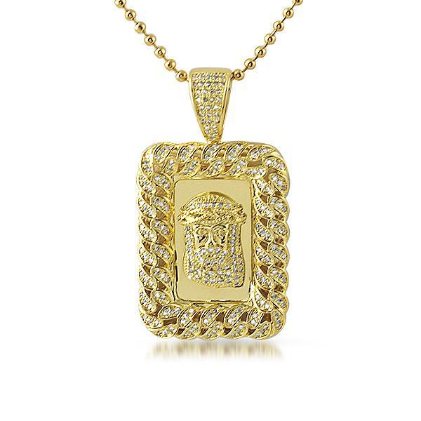 Gold Cuban Border Rectangular Jesus Medallion