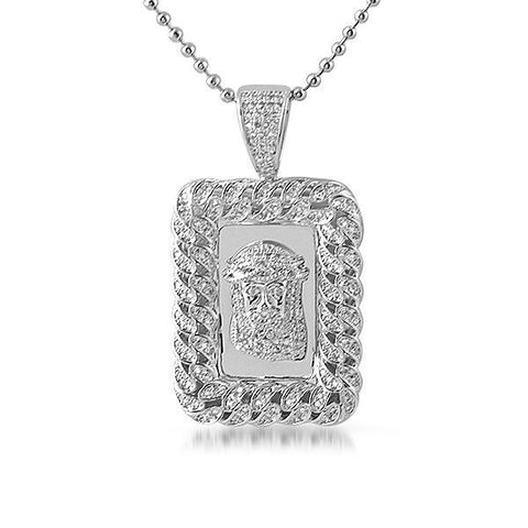 Silver Cuban Border Rectangular Jesus Medallion