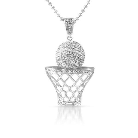 Silver 3D Basketball Hoop Pendant With Chain