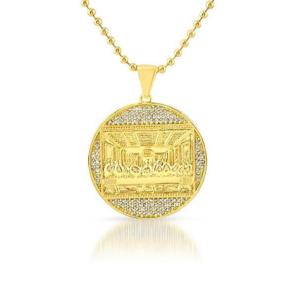 Gold Mini Last Supper Jesus Medallion Chain