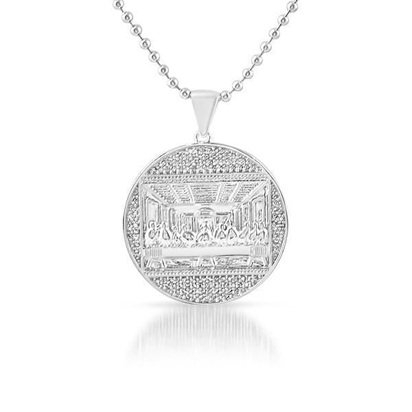 Silver Mini Last Supper Jesus Medallion Chain