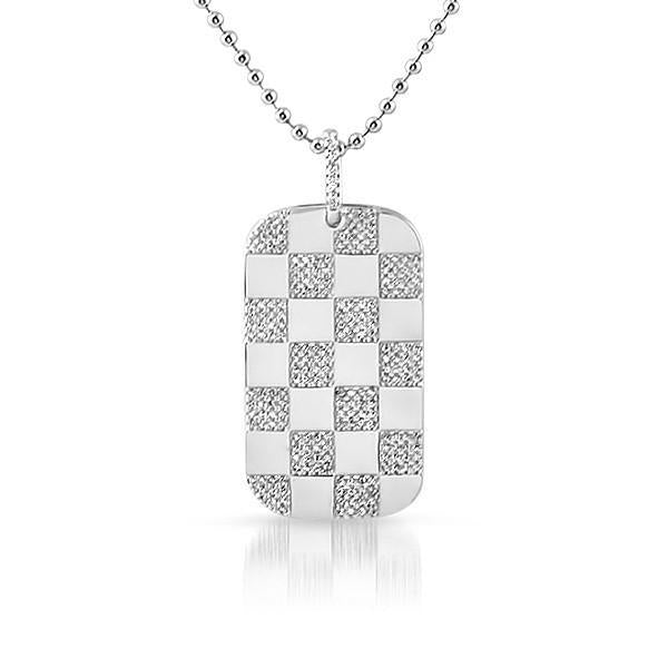 Silver Checkered Dogtag Pendant With Chain