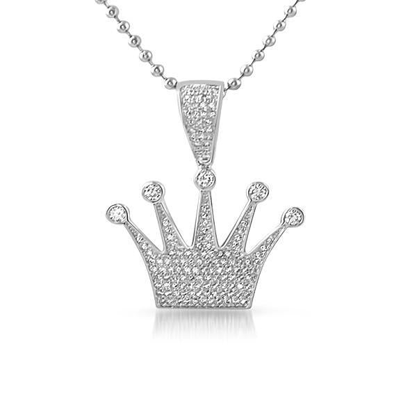 Silver Iced Out Small Crown Pendant With Chain