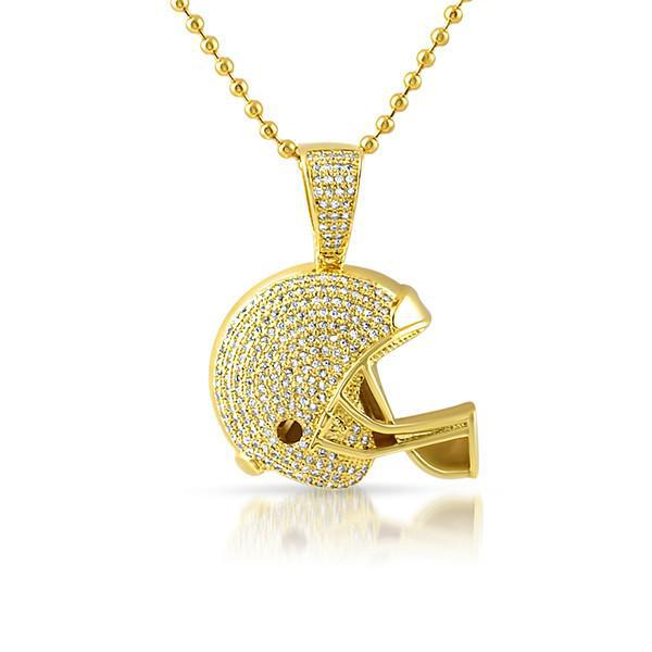 Gold mini 3d football helmet pendant with chain jewelryfresh gold mini 3d football helmet pendant with chain aloadofball Image collections
