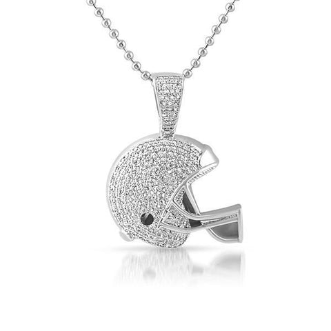 Silver Mini 3D Football Helmet Pendant With Chain