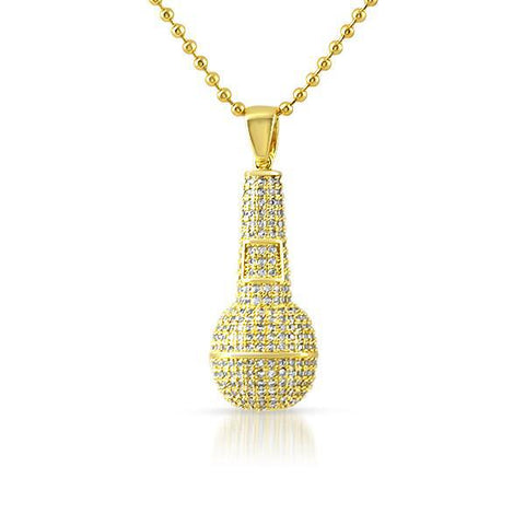 Gold Iced Out Mini Microphone Pendant With Chain