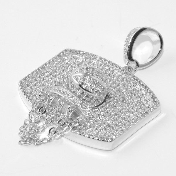 Silver Mini Basketball Hoop Pendant With Chain