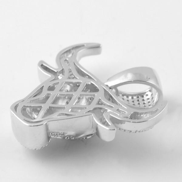 Silver 3D Iced Out Bull Pendant With Chain