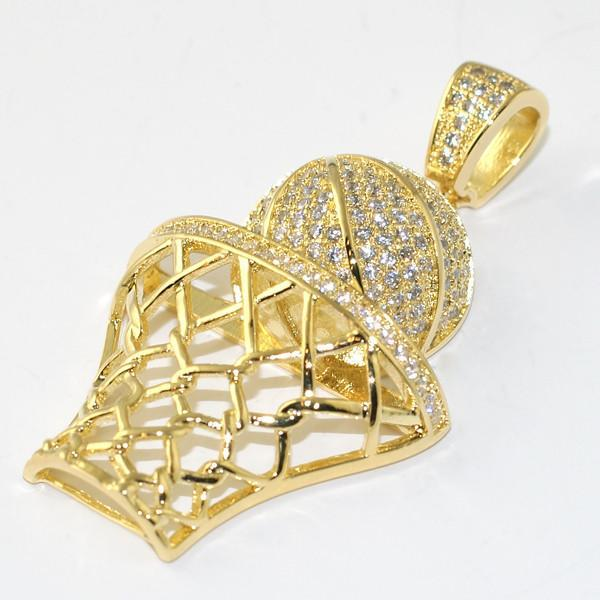 Gold 3D Basketball Hoop Pendant With Chain
