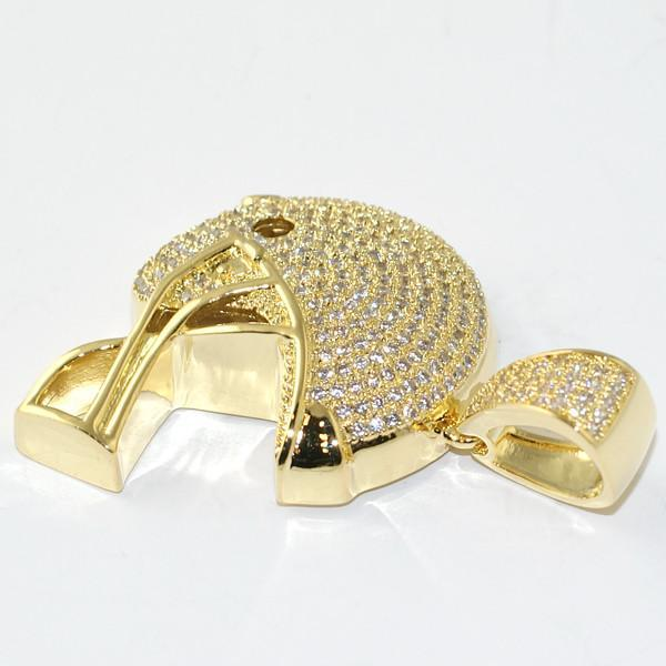 Gold Mini 3D Football Helmet Pendant With Chain