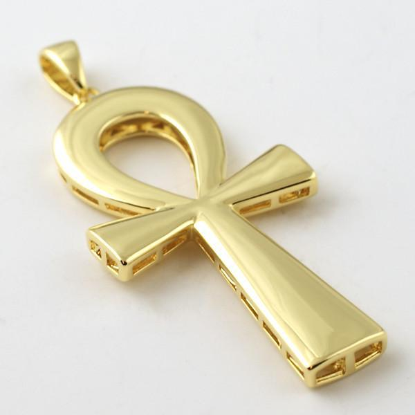 Gold Polished Egyptian Ankh Pendant With Chain