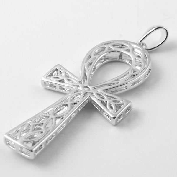 Silver Polished Egyptian Ankh Pendant With Chain