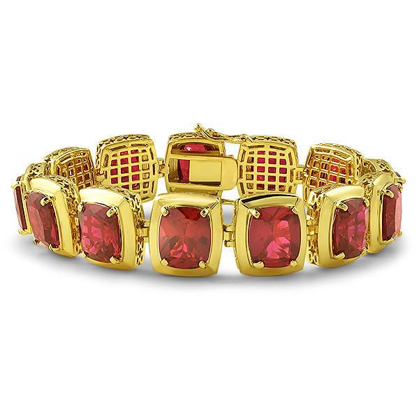 Gold Synthetic Ruby Chunky Gold Bracelet