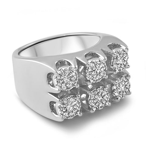 Platinum Finish Large Cluster Iced Out Ring