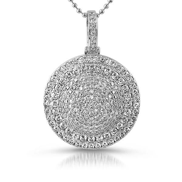 Silver Iced Out Round Medallion With Chain